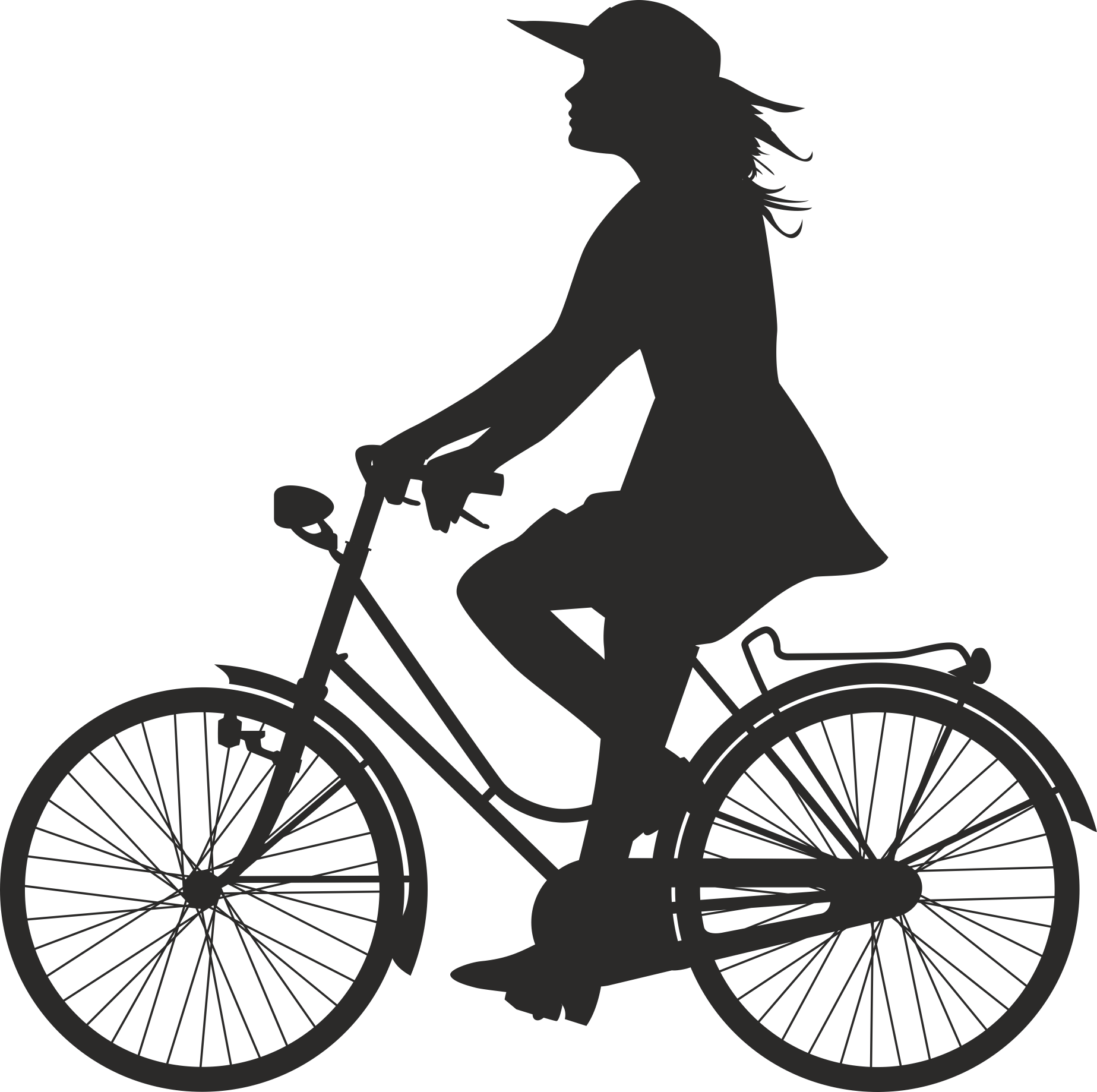 Silhouette Cyclist Collection Of Bicycle 15 Free DXF File