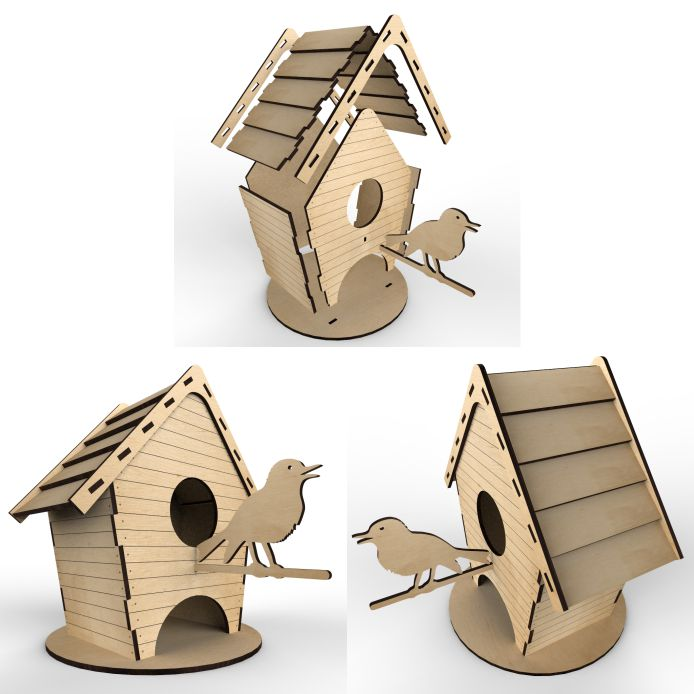 Tea House Birdhouse Layout For Laser Cutting Plywood Free DXF File