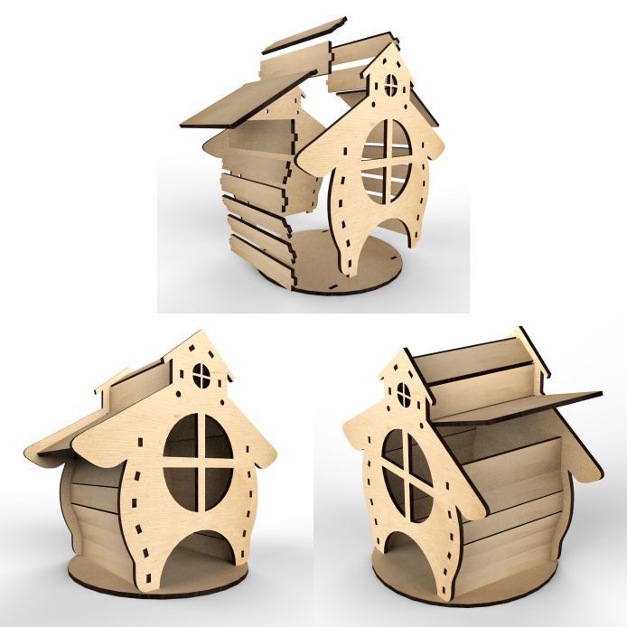 Tea House Hut no. 2 Vector Layout For Laser Cutting Free DXF File