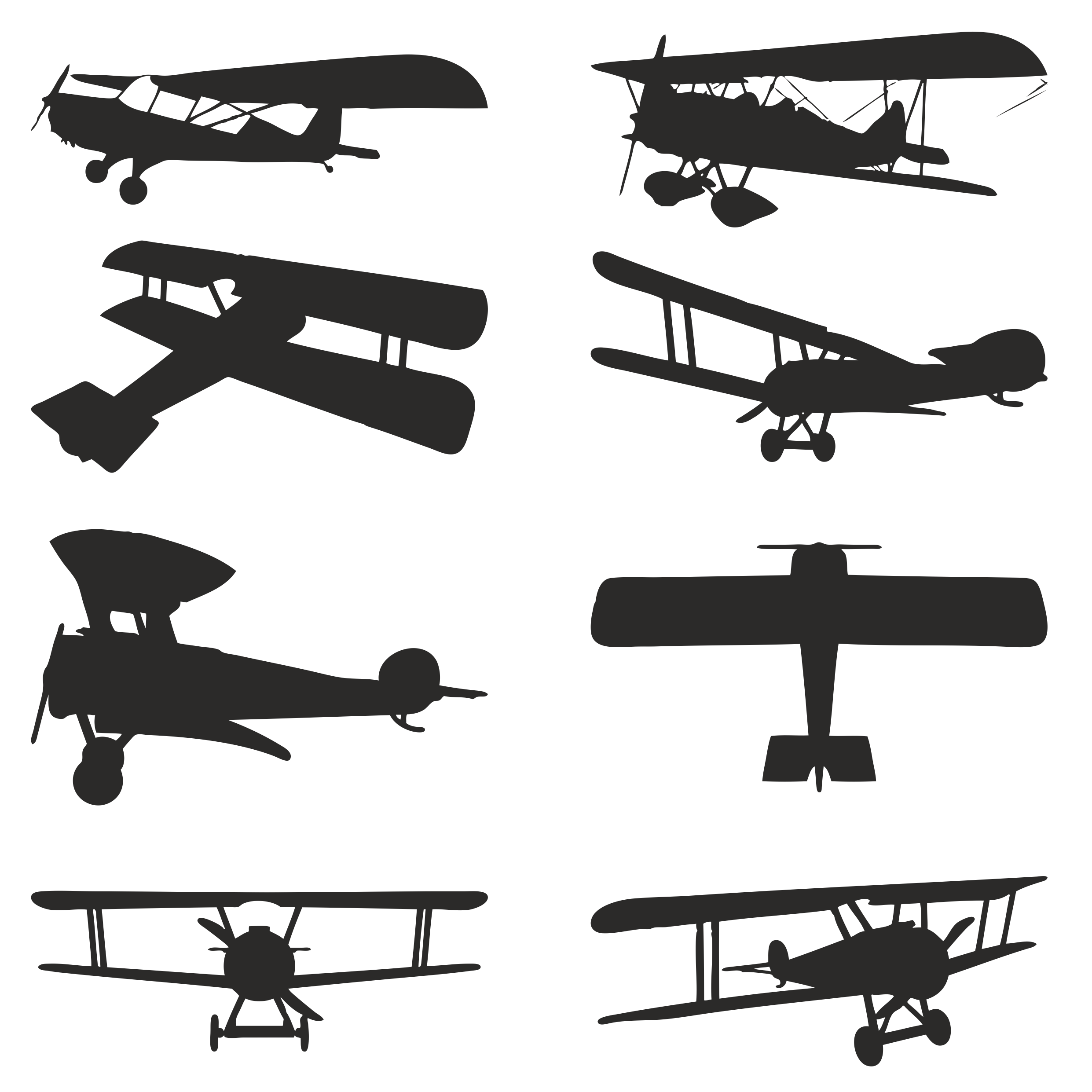 Vector Silhouettes Of Biplanes Free DXF File