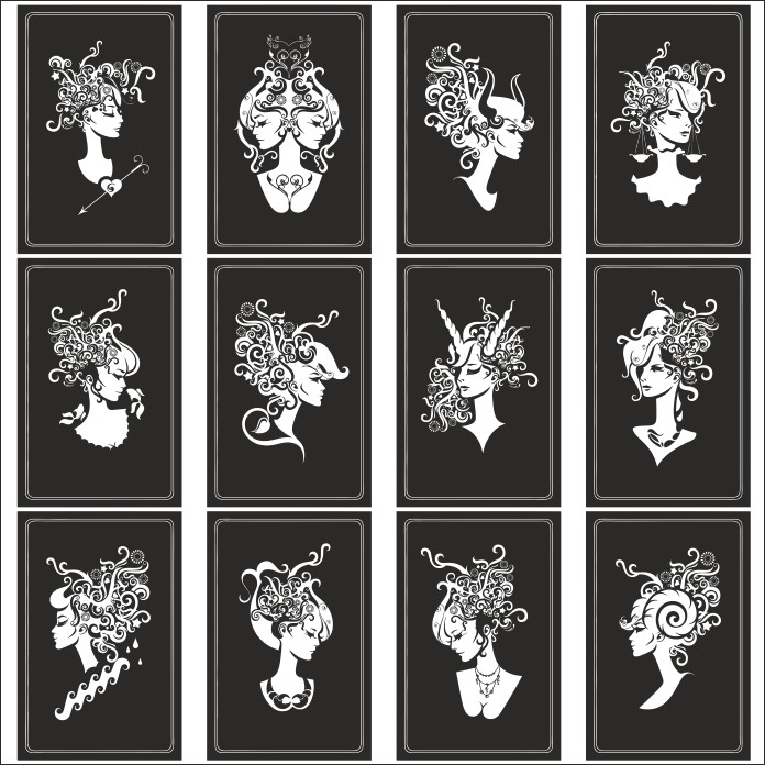 Zodiac Signs In The Form Of Female Busts Free DXF File