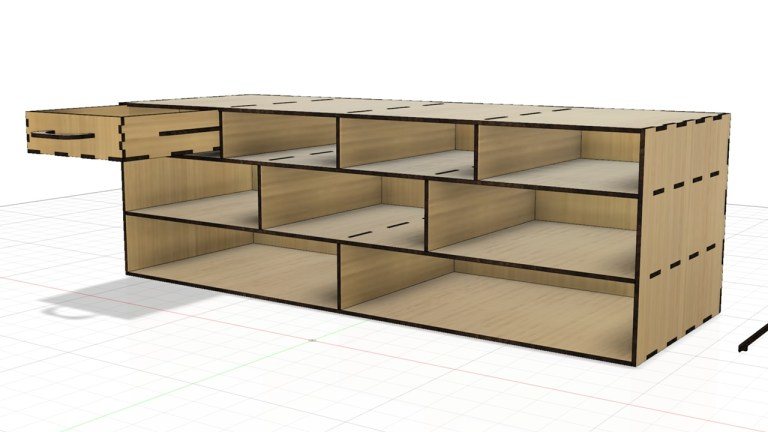 Laser Cut Layout Shelf For Shelving With Drawers Free CDR Vectors Art
