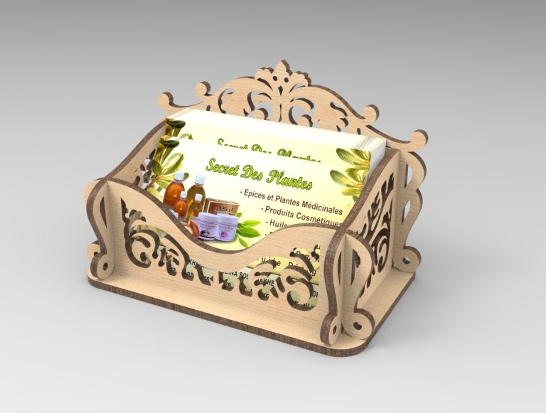 Laser Cut Wooden Card Holder Box Free CDR Vectors Art