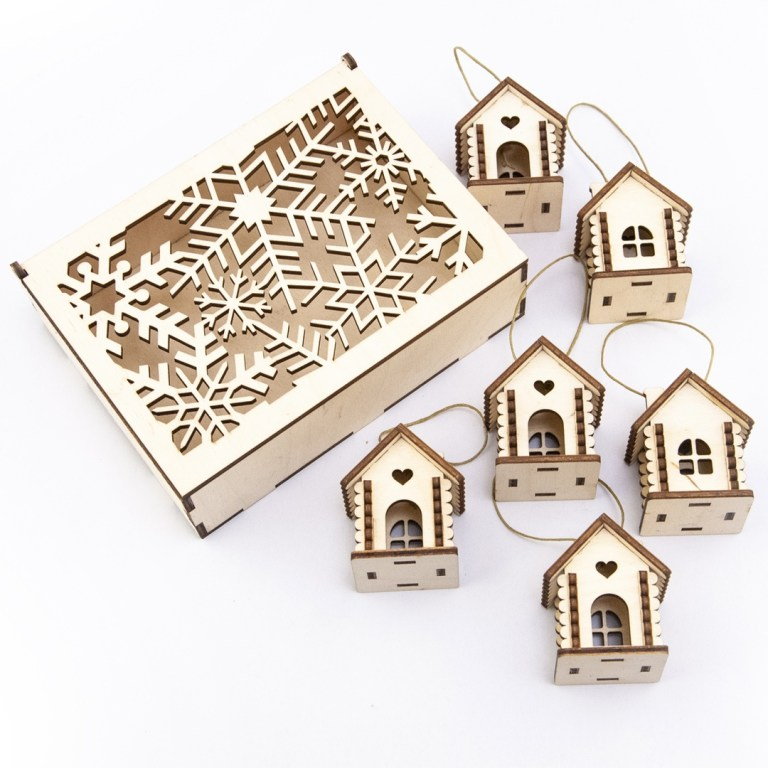 Laser Cut Box With Snowflakes A House For A Garland Free CDR Vectors Art
