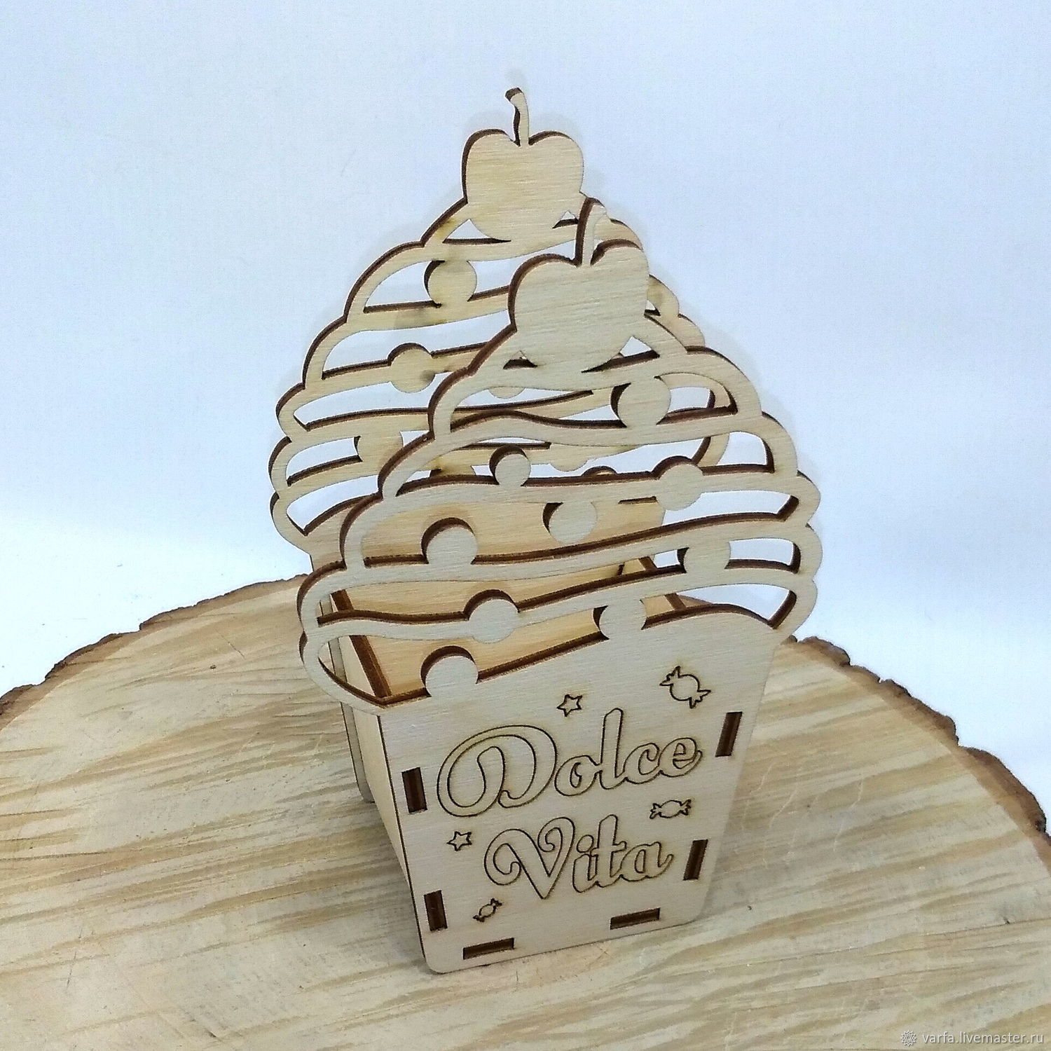 Laser Cut Ice Cream Shaped Wooden Box Candy Basket Free CDR Vectors Art