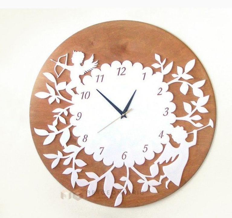 Laser Cut Clock With Angel Free CDR Vectors Art