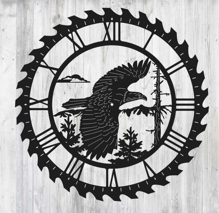 Laser Cut Eagle Clock Free CDR Vectors Art