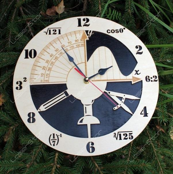 Laser Cut Math Clock Free CDR Vectors Art