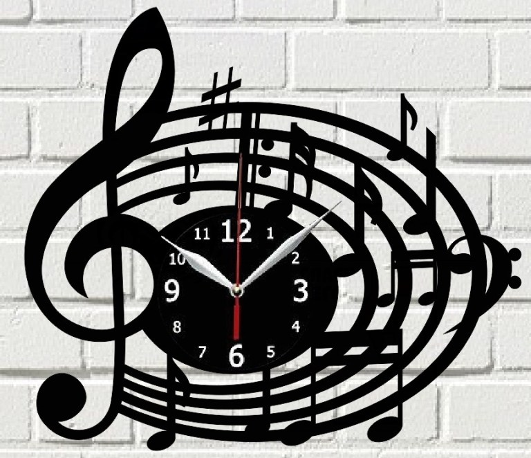 Laser Cut Melody Clock Free CDR Vectors Art