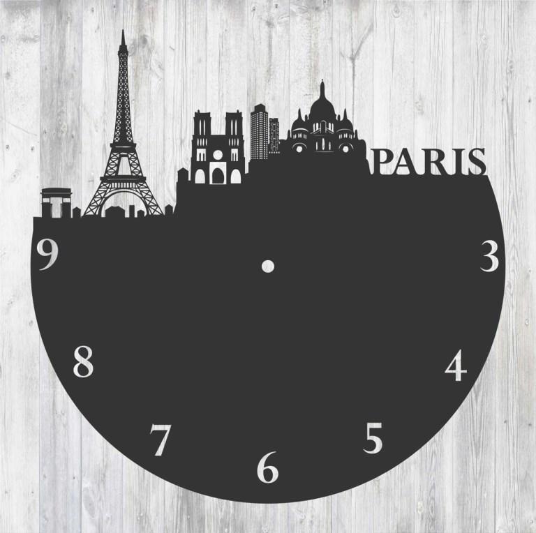Laser Cut Paris Clock Free CDR Vectors Art
