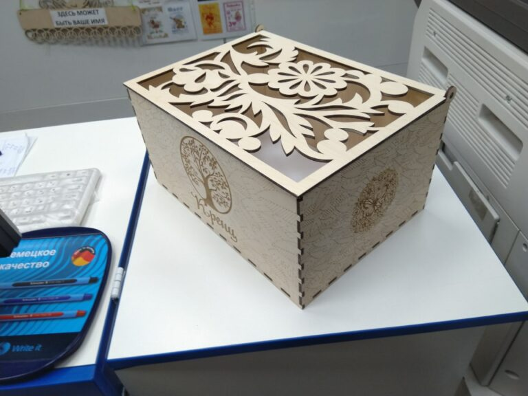 Laser Cut Decorative Engraved Wooden Box With Lid For a4 Docs Free CDR Vectors Art