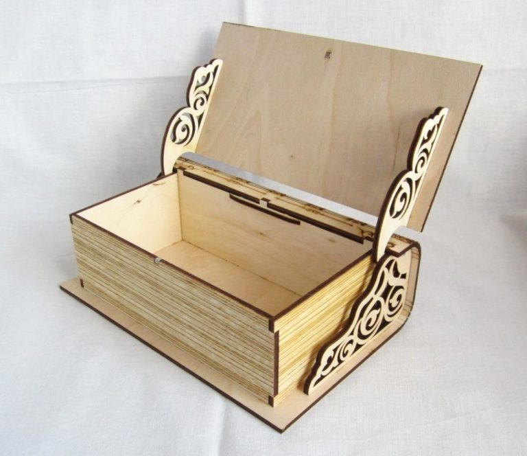 Laser Cut Engraved Wooden Book Shaped Box With Lid Free CDR Vectors Art