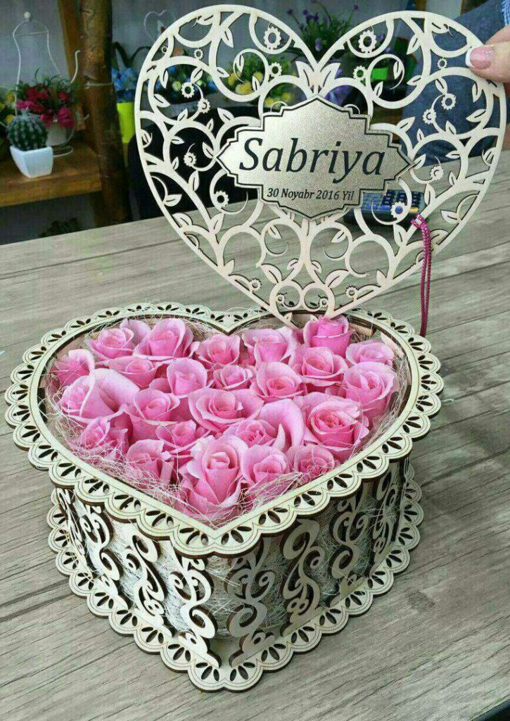 Laser Cut Heart Flower Box Free CDR Vectors Art