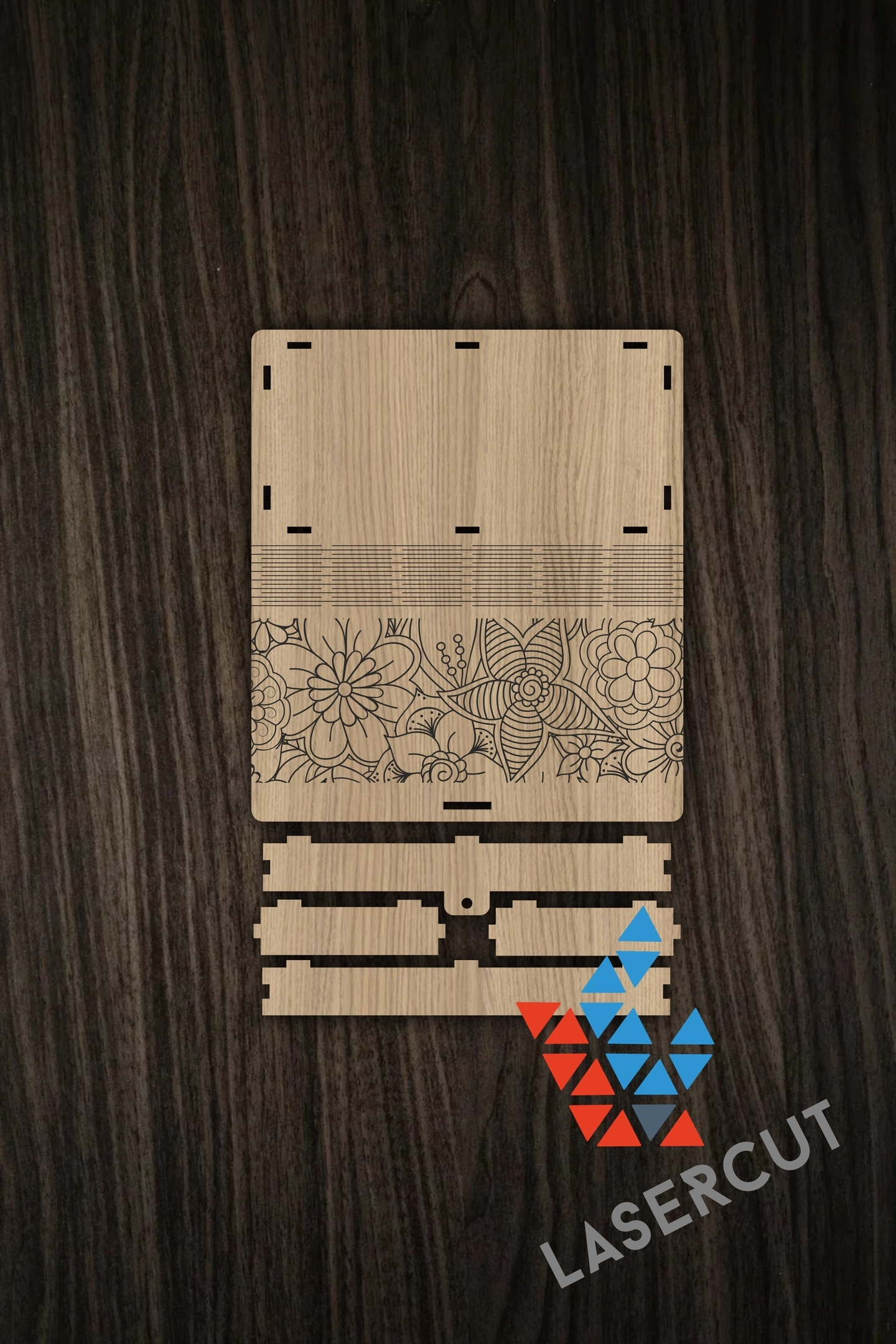 The Layout Of The Box With Elements Of Flexible Plywood And Engraving Free CDR Vectors Art