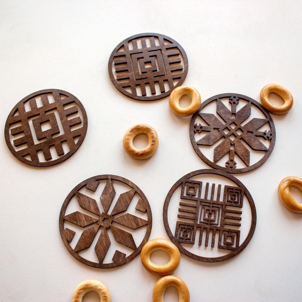 Laser Cut Coasters With Belarusian Ornament Free CDR Vectors Art