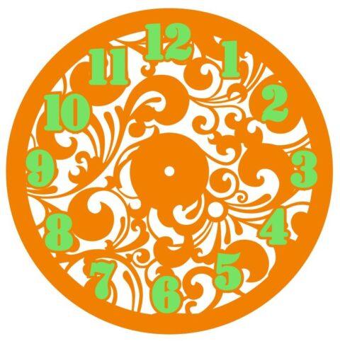 Laser Cut Decorative Floral Wall Clock Free CDR Vectors Art