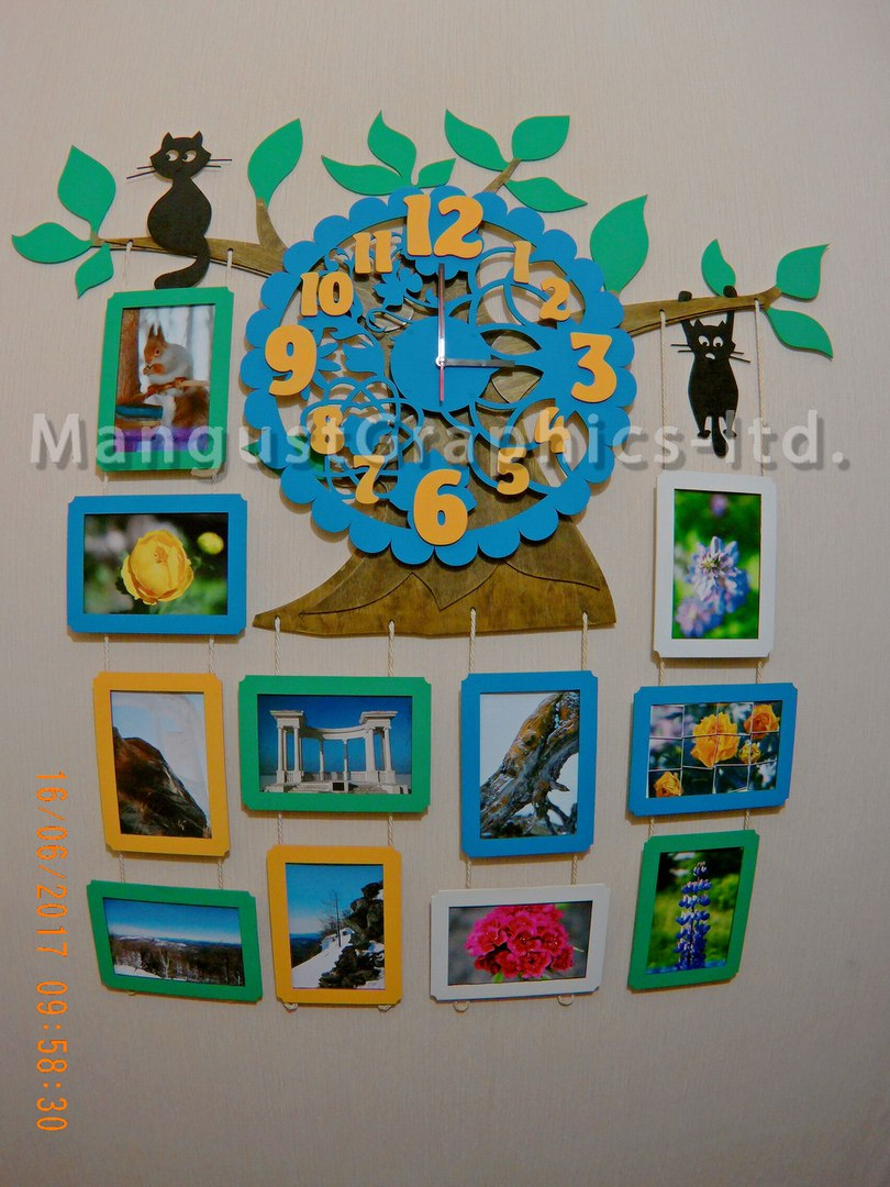 Laser Cut Photo Frame With Clock Collection Free CDR Vectors Art