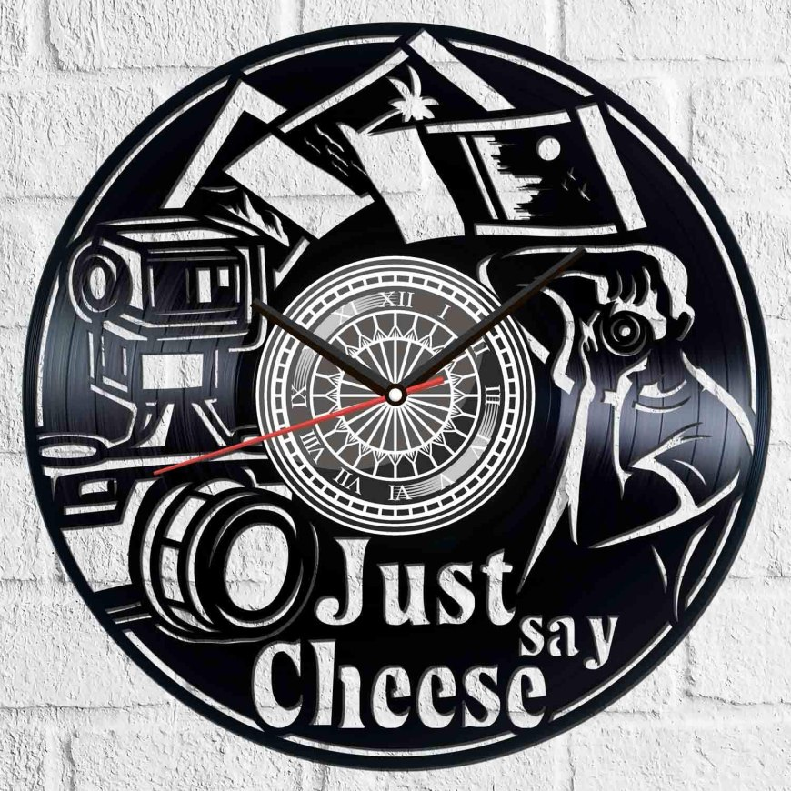 Just Say Cheese Vinyl Photography Clock Free AI File