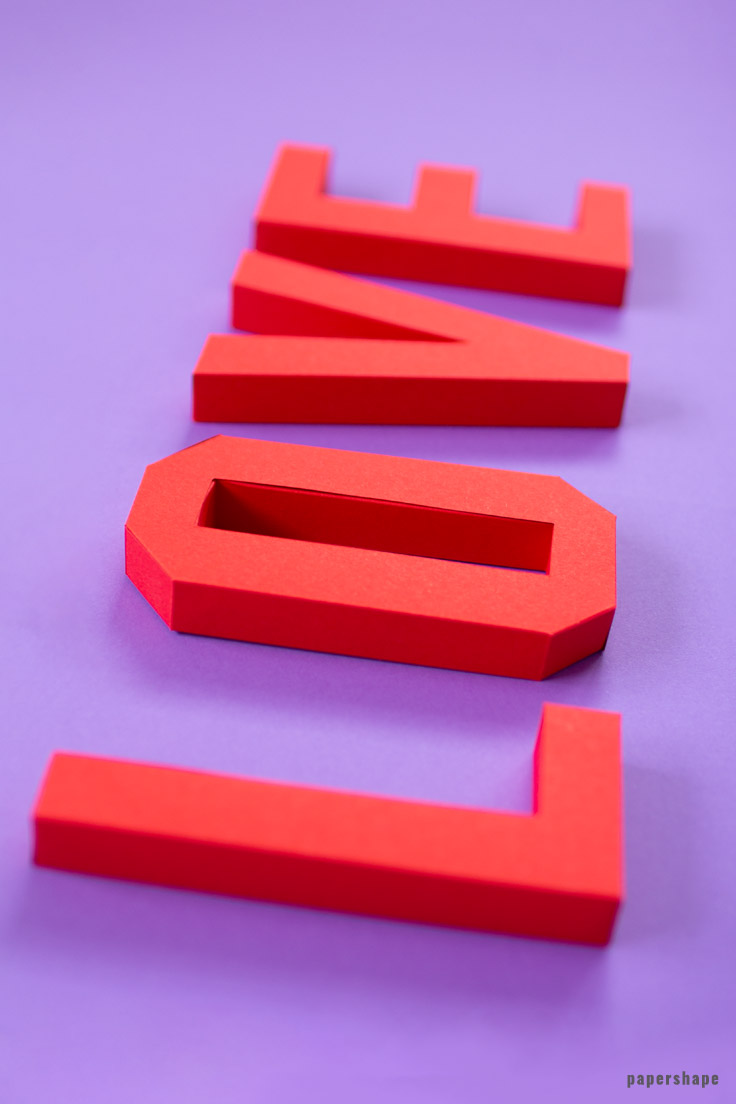 3d Love Lettering From Paper Template Free PDF File