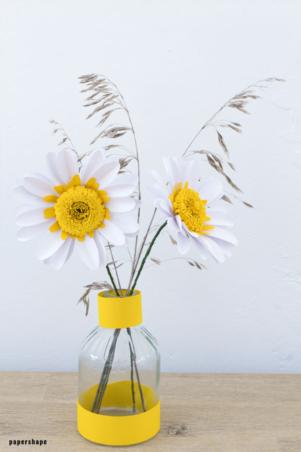 Paper Daisy Flowers 3d Papercraft Template Free PDF File