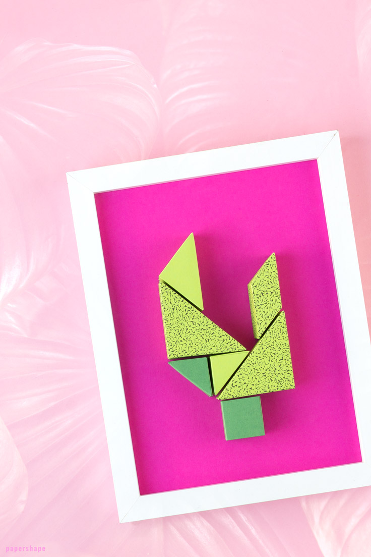 Wall Decor Diy From Paper Cute Tangram Cactus Free PDF File
