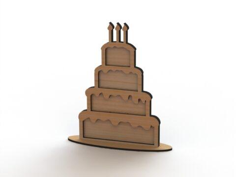 Laser Cut Heart Drop Box Guest Book Cake Free CDR Vectors Art