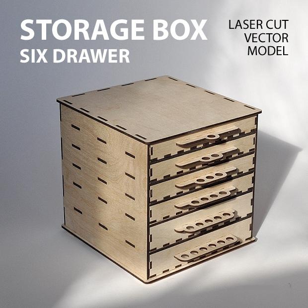 Laser Cut Storage Box Drawer Free DXF File