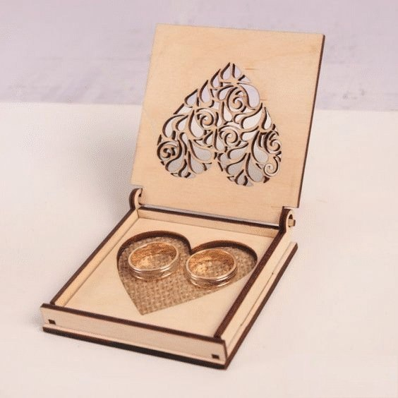 Laser Cut Wedding Rings Box Free CDR Vectors Art
