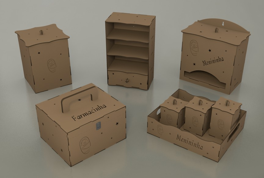 Laser Cut Wooden Casket Set Template Free DXF File