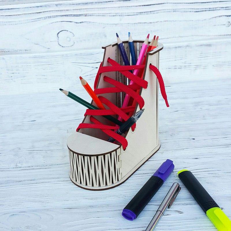 Laser Cut Boot Desk Organizer Pen Pencil Holder Free CDR Vectors Art