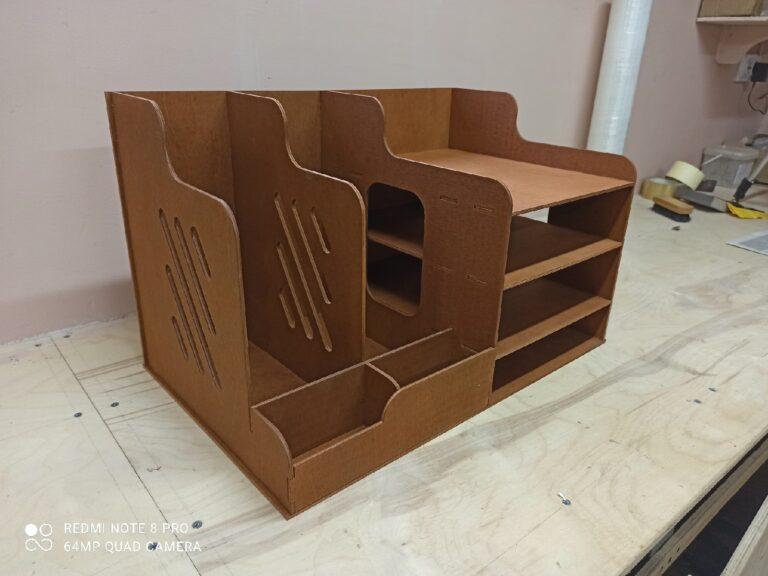 Laser Cut Wooden Office Organizer Paper File Holder Free CDR Vectors Art
