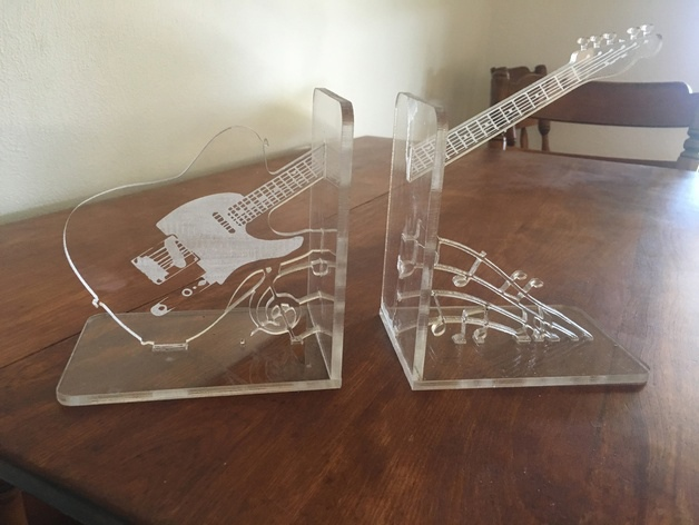 Acrylic Engraved Guitar Bookends Free CDR Vectors Art