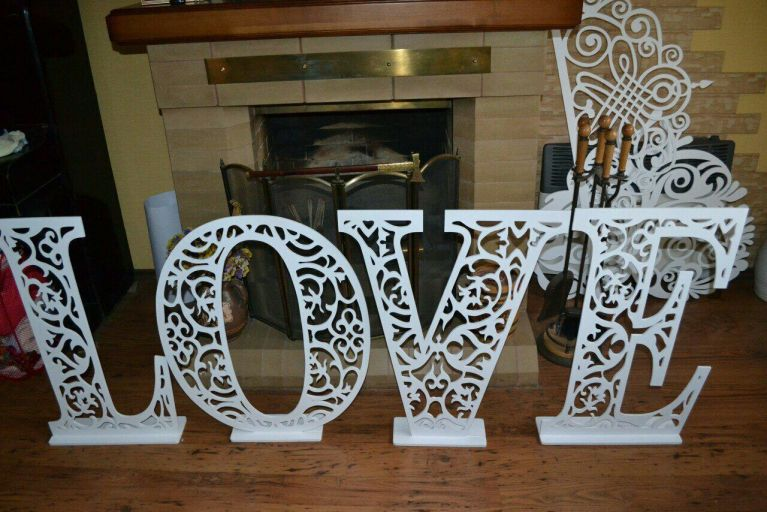 Laser Cut Wooden Love Stand For Photoshoot Free CDR Vectors Art