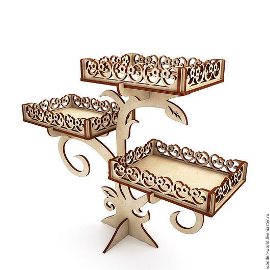 Laser Cut Wooden Stand For Sweets Free CDR Vectors Art