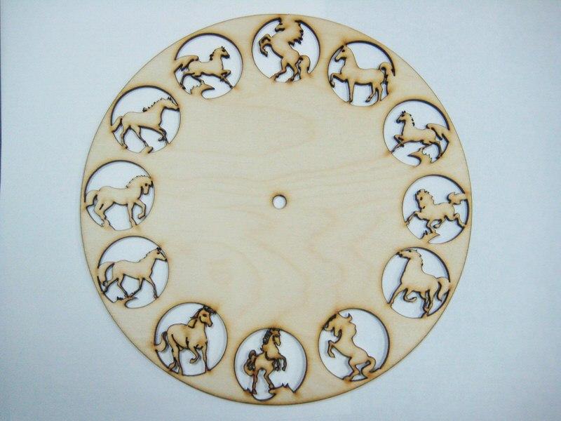 Laser Cut 12 Horses Clock Free CDR Vectors Art