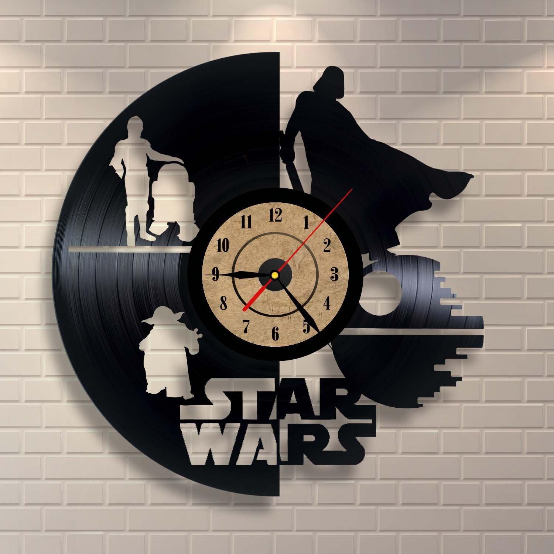 Laser Cut Vinyl Record Clock Star Wars Wall Decor Free CDR Vectors Art