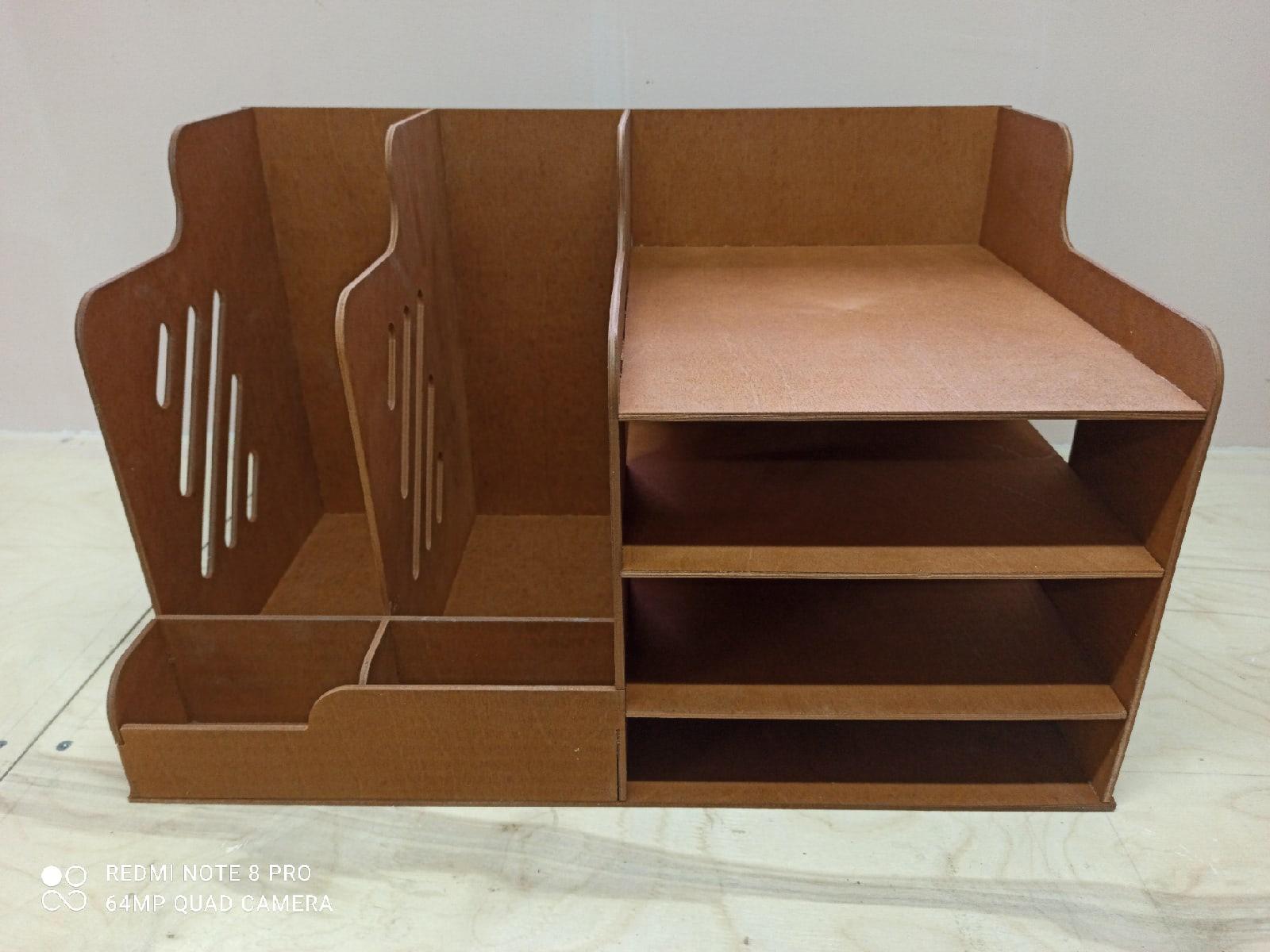 Laser Cut Wooden Desk Organizer For File Folder Free DXF File