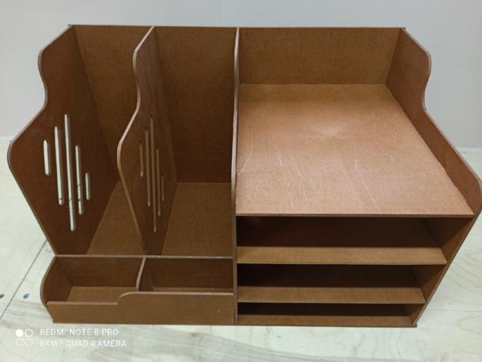 Wooden Office Organizer Paper File Holder Laser Cut Free CDR Vectors Art
