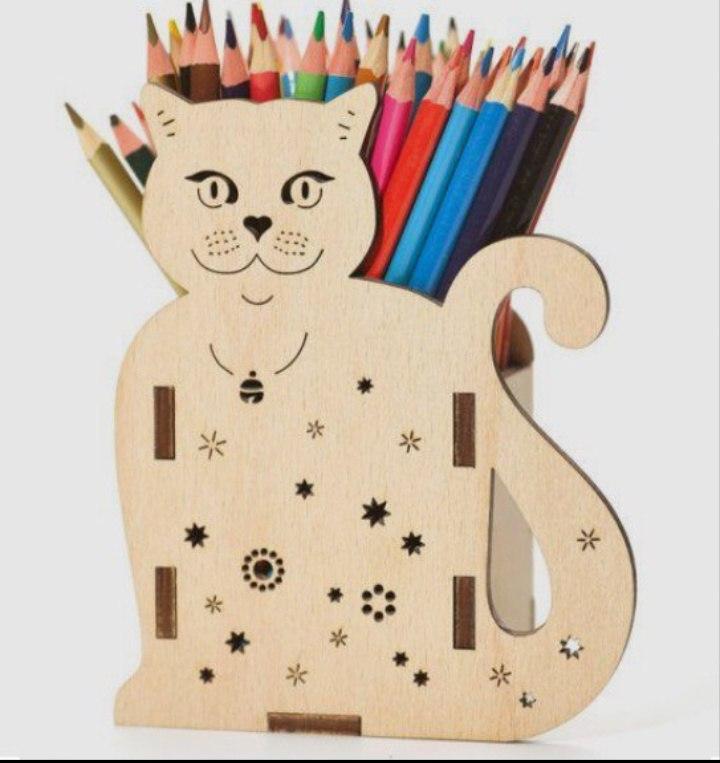 Laser Cut Cat Pencil Holder 3d Puzzle Free CDR Vectors Art