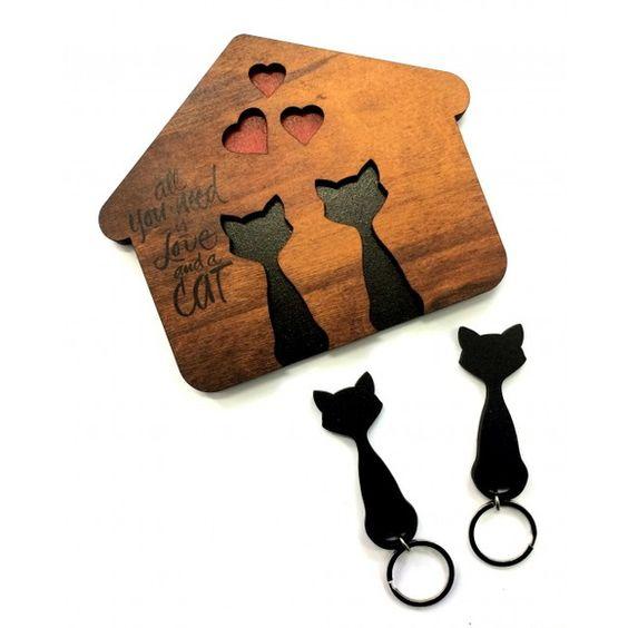 Laser Cut Cat Shaped Key Holder Free CDR Vectors Art