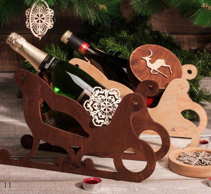 Laser Cut Sleigh Wine Holder Free CDR Vectors Art