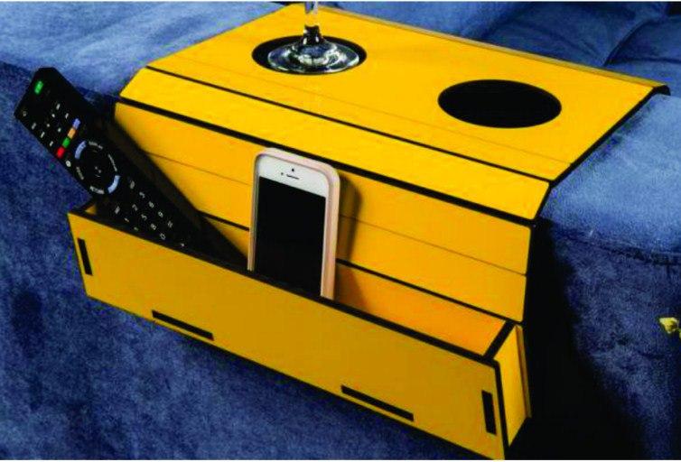 Laser Cut Sofa Holder For Cups Free CDR Vectors Art