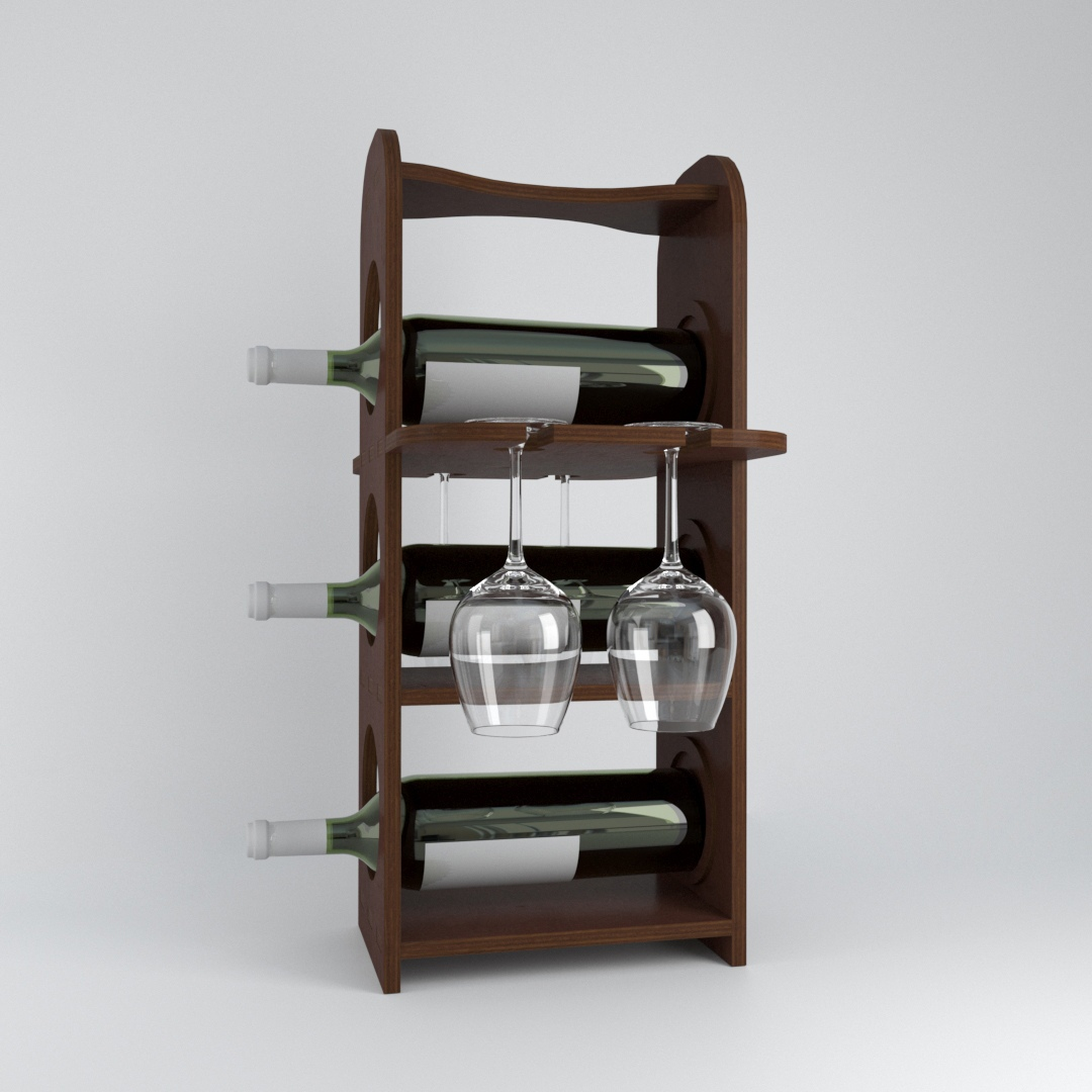 Minibar Wine Bottles Rack And Glasses Holder Free CDR Vectors Art