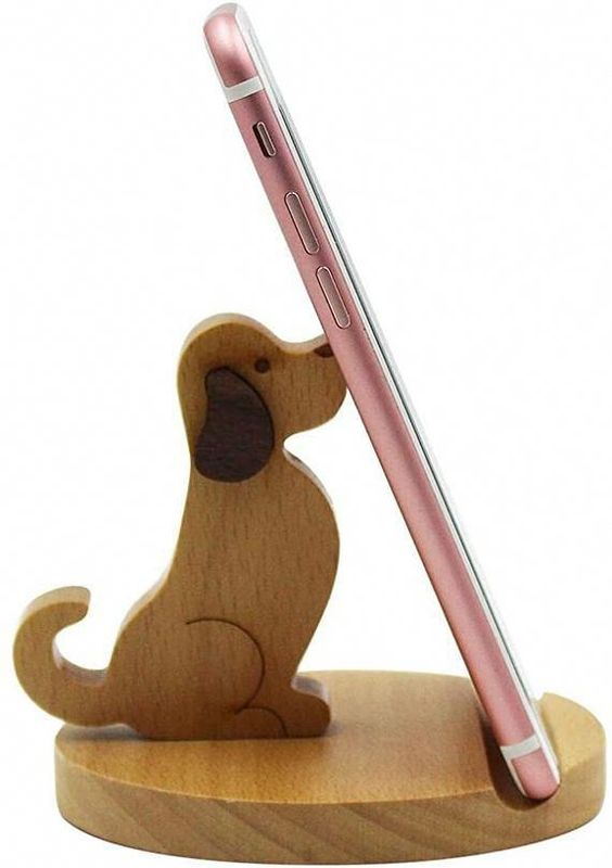 Laser Cut Puppy Phone Stand Cell Phone Holder Free CDR Vectors Art