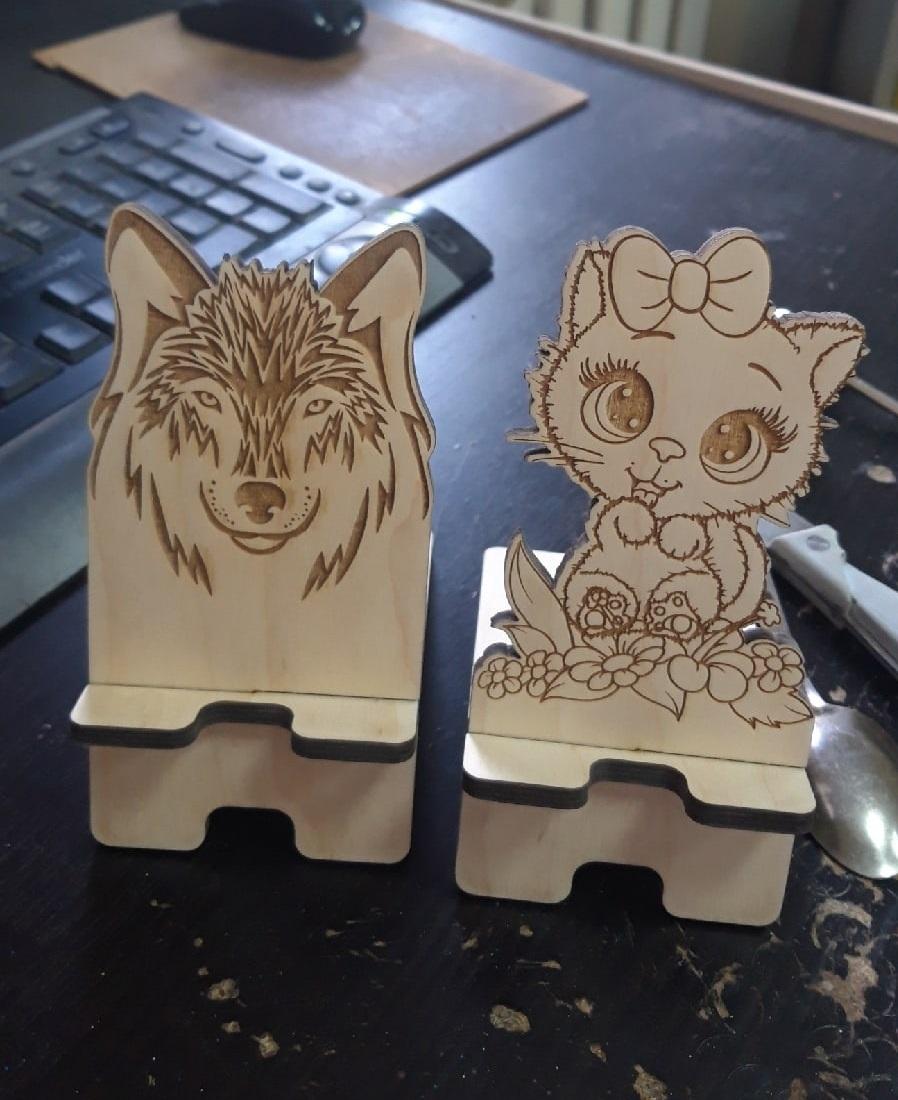 Laser Cut Wooden Phone Stand Creative Cute Phone Holder Free CDR Vectors Art