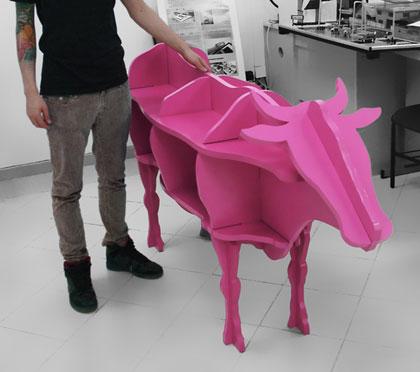 Cnc Laser Cut Cow Shaped Storage Shelf 3d Puzzle Free CDR Vectors Art