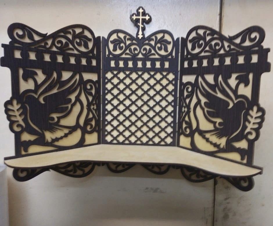Laser Cut Iconostasis Wooden Shelf For Icons Free CDR Vectors Art