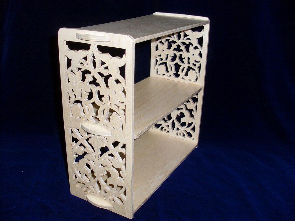 Laser Cut Wood Shelf Three Tier Free CDR Vectors Art