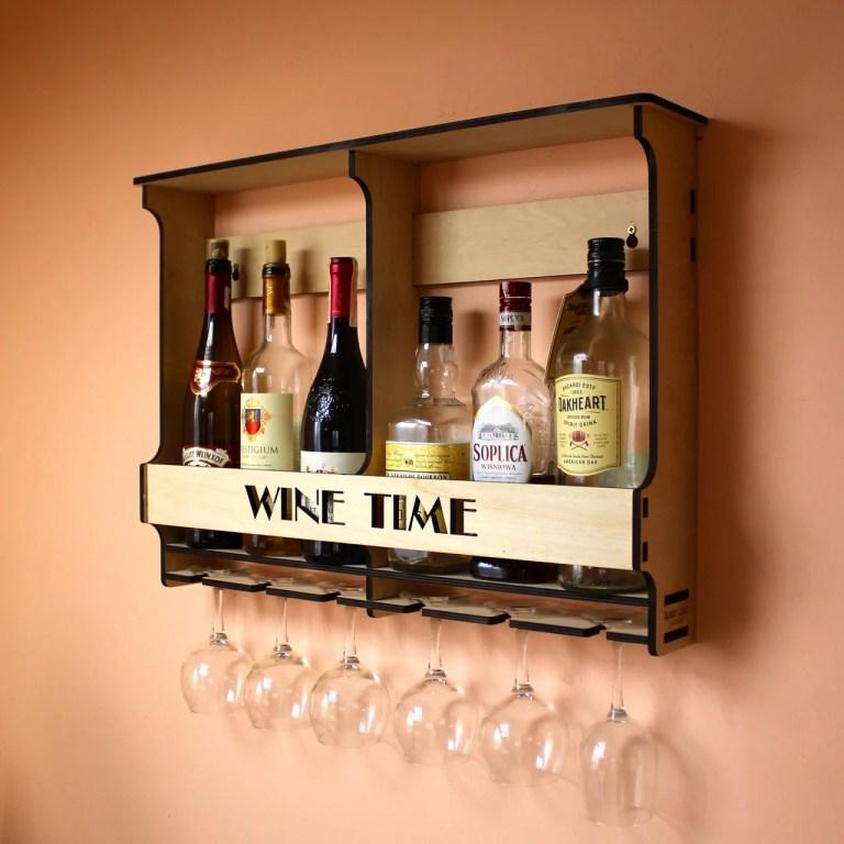 Laser Cut Wine Shelf Drawing Free CDR Vectors Art
