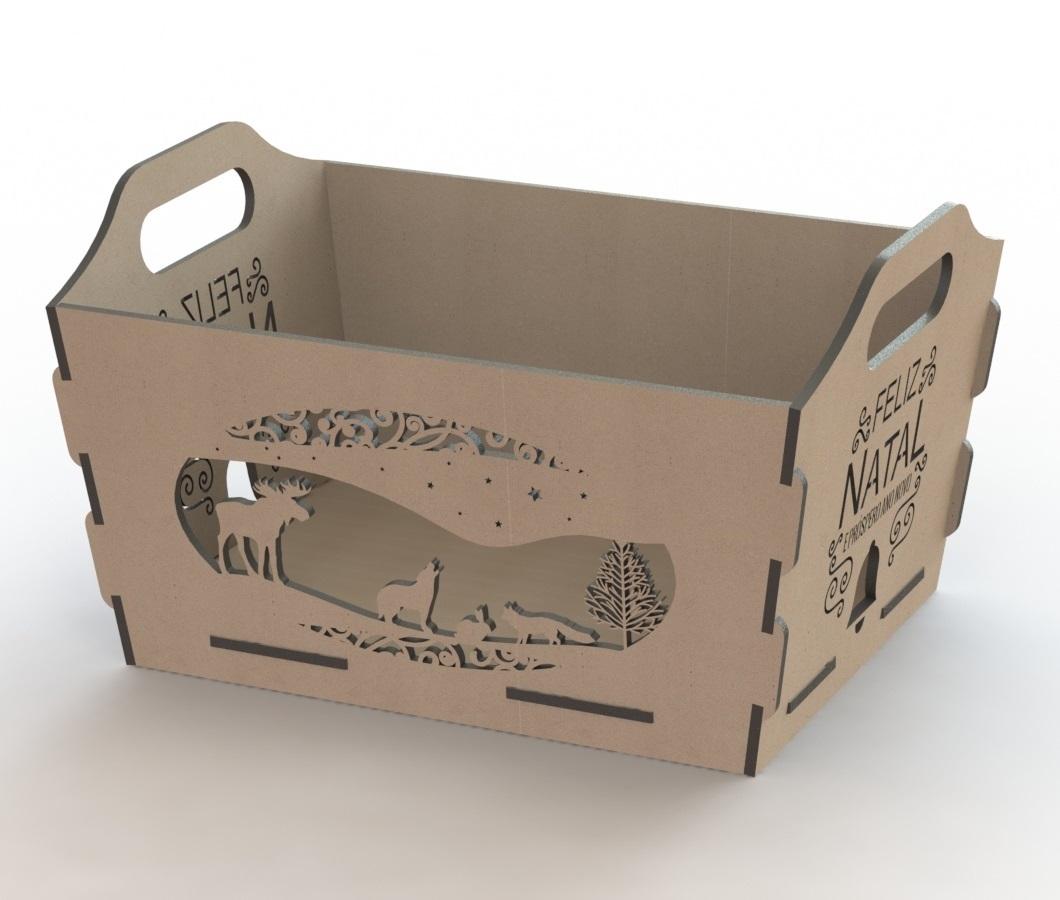 Laser Cut Wooden Storage Basket Box Free DXF File